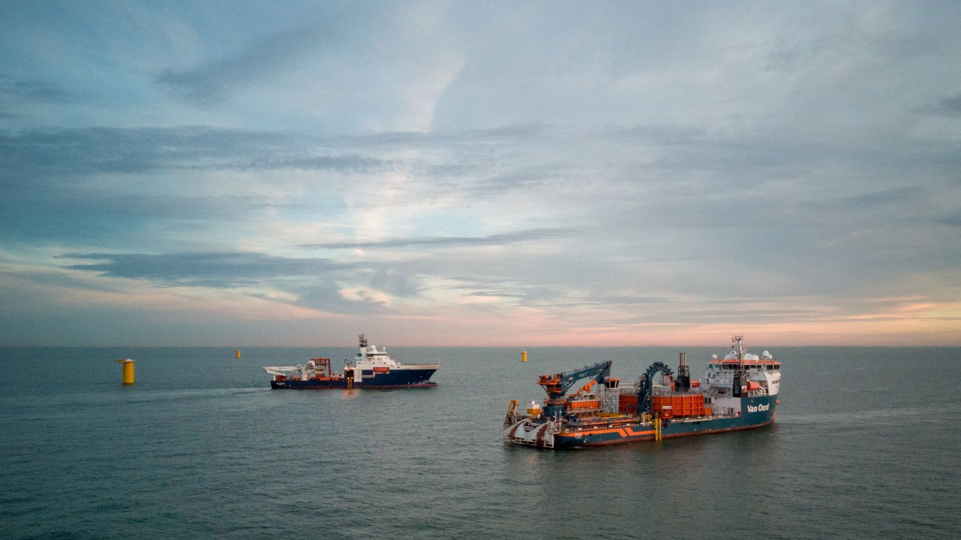 Van Oord Nexus cable laying vessel from Norther wind farm offshore high voltage substation